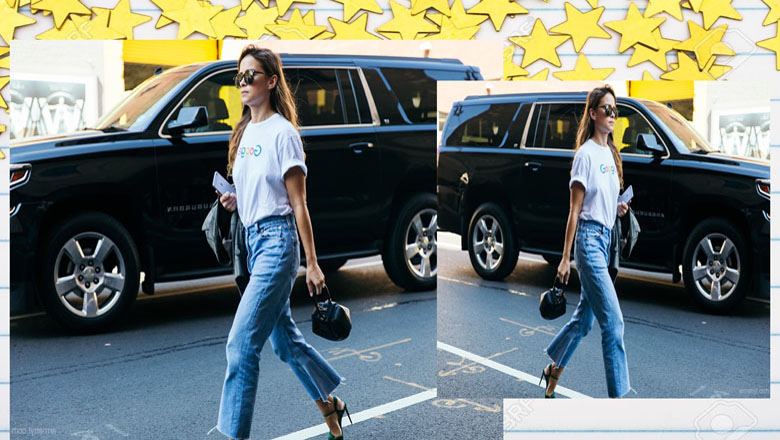 Casual Glam Look with Hem Jeans