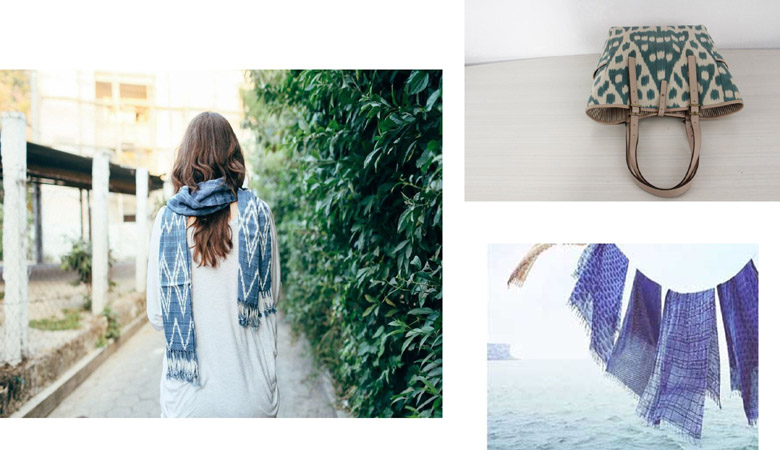 Ikat prints scarves and bags