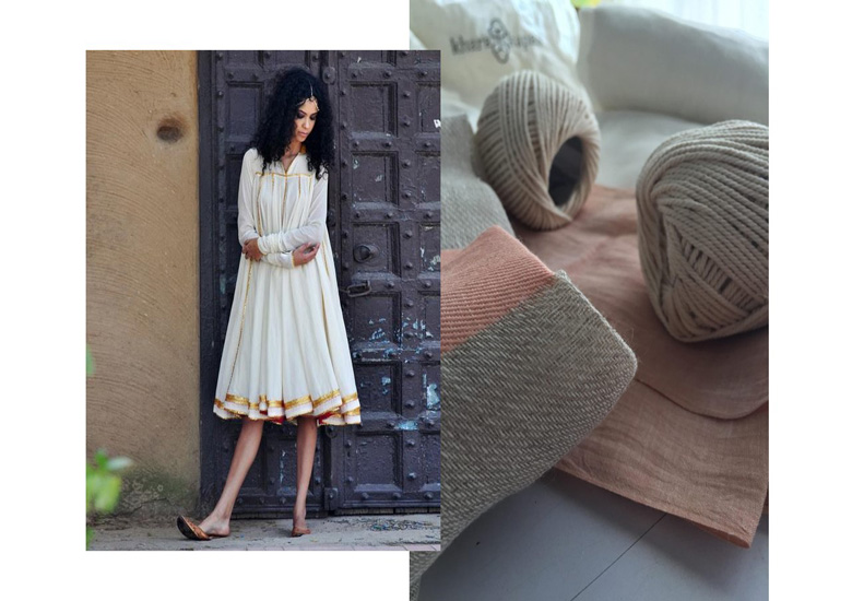 Shilpi Yadav Mulmul fabric dresses in white and gold