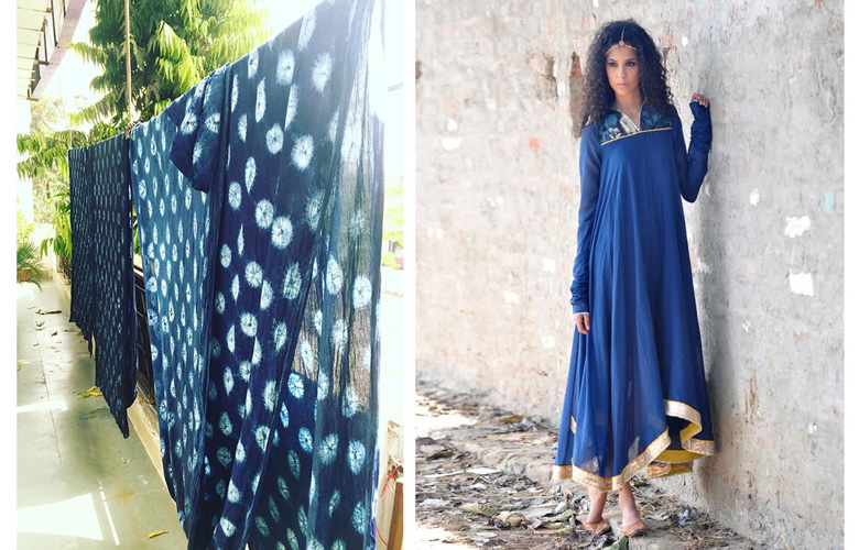 Mulmul Gown and dresses Blue –Indigo