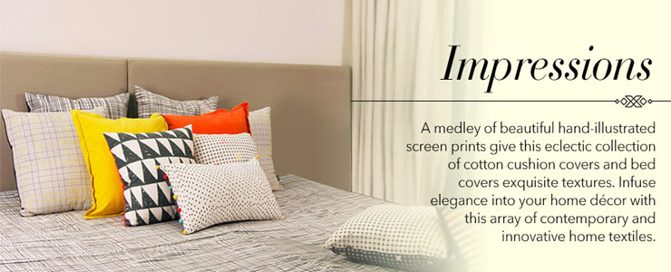 Bed – designer beddings – colors and hand crafted patterns - Impressions