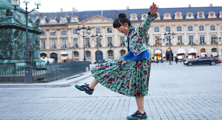 Shoes street shot – floral prints – jacket and skirts