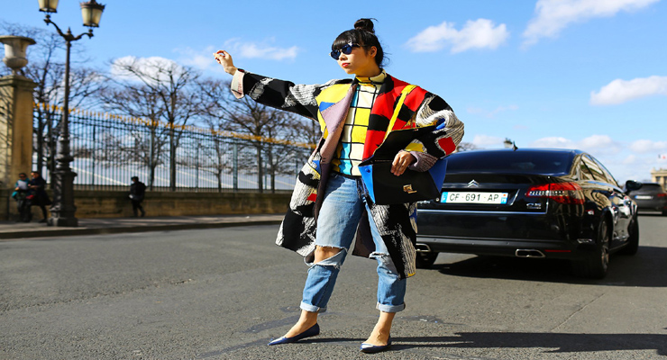 celine sneakers street style – printed over coats and tops – colorful block prints