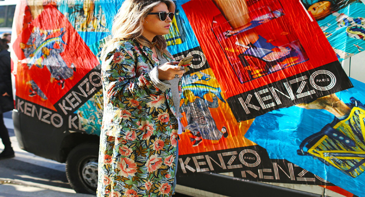 Street fashion – long coats – floral prints