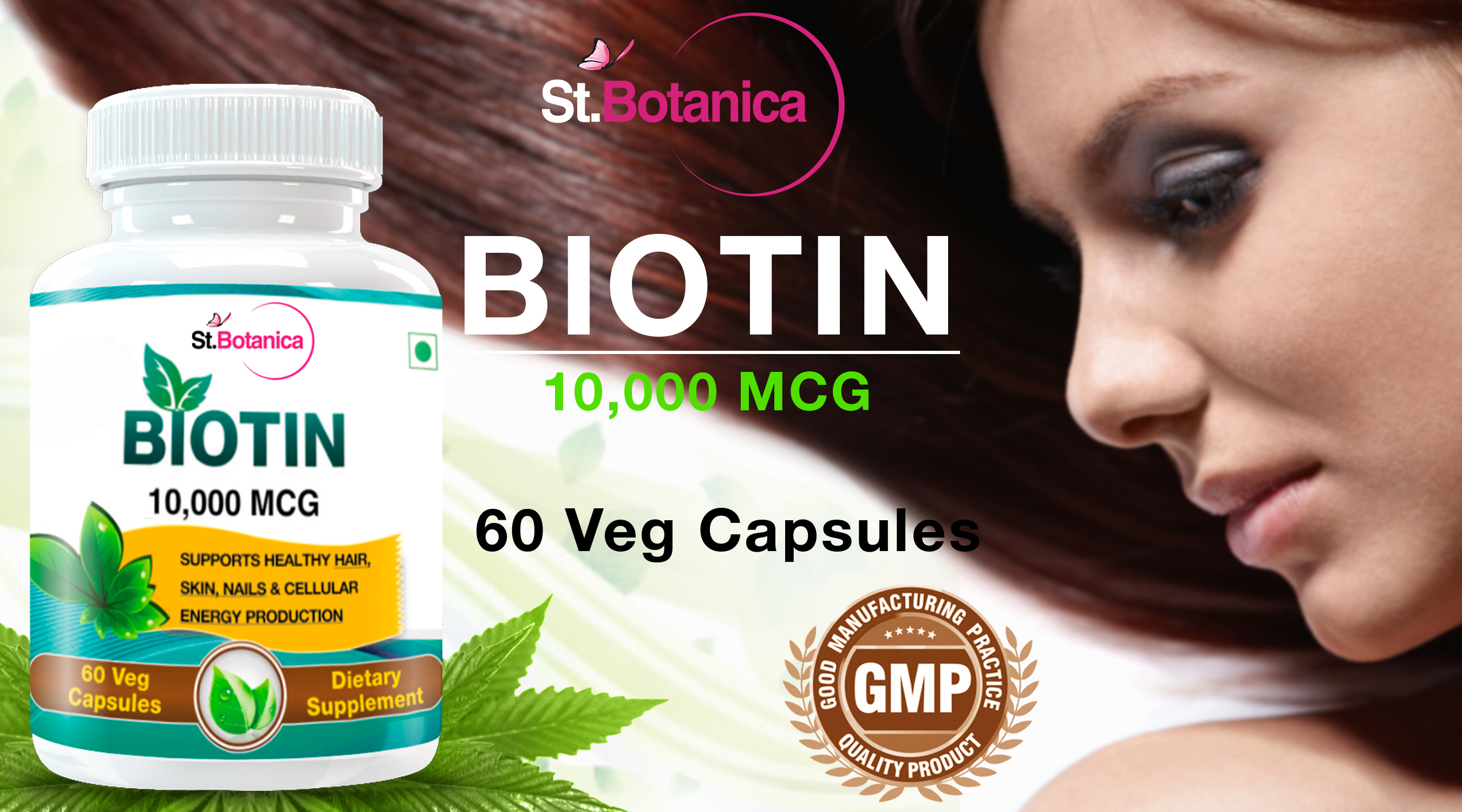 Biotin capsules for hair, skin and nails