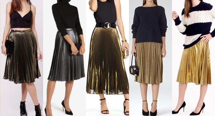 metallic-pleated-skirts