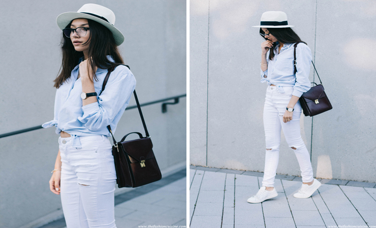 white jean outfit