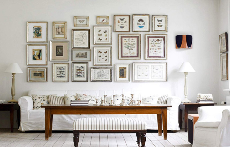 shabby-chic-living-rooms-with-photo-art-frame-wall-hanging-decoration-ideas