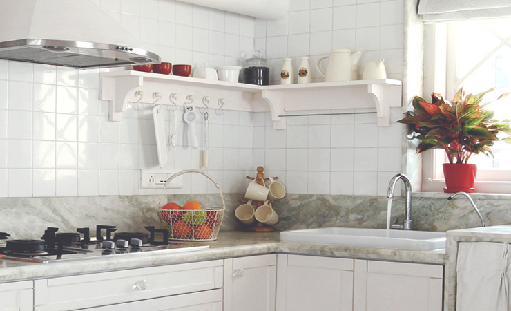 Countertop in kitchen in white theme