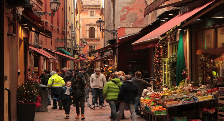 Food market Bologna Italy - Colonnade bologna Italy Gelato Italiano