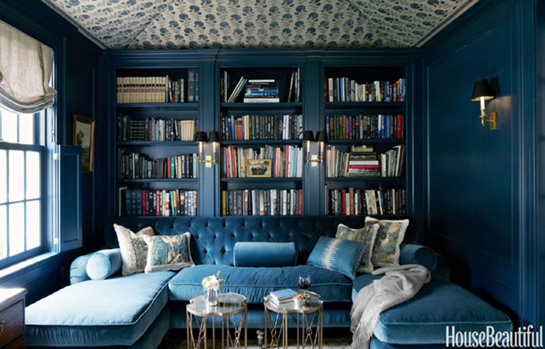 Home library designs in farrow and ball hague blue