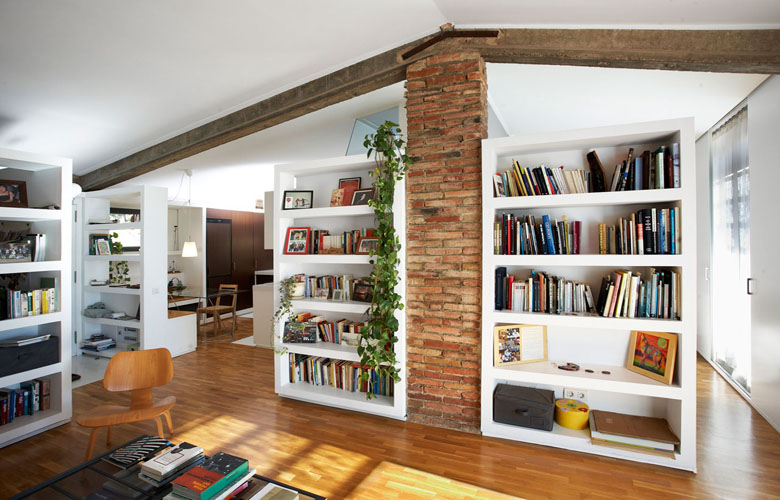 modern rustic interior design for stone wall home library