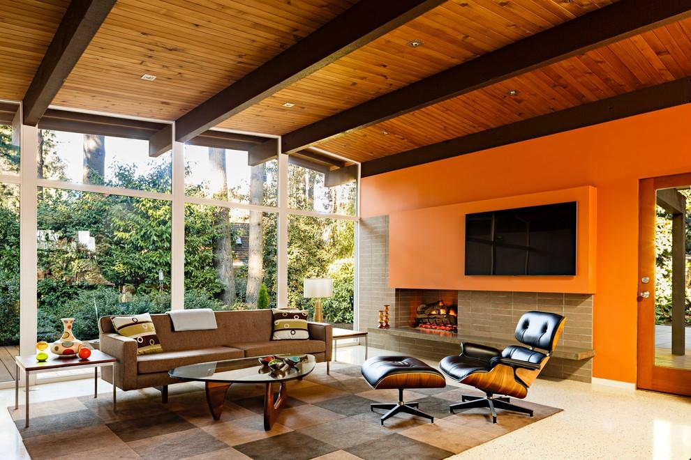 Mid century living room design and ideas