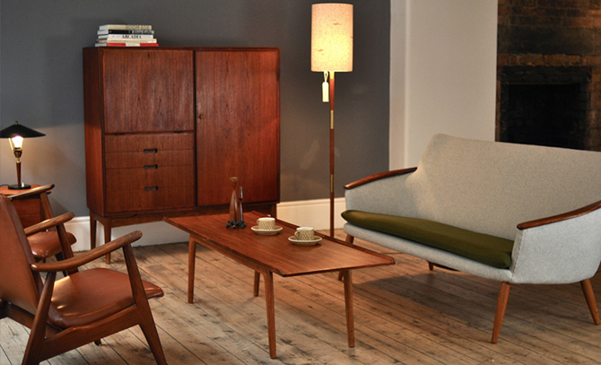 Mid century modern industrial room and store design