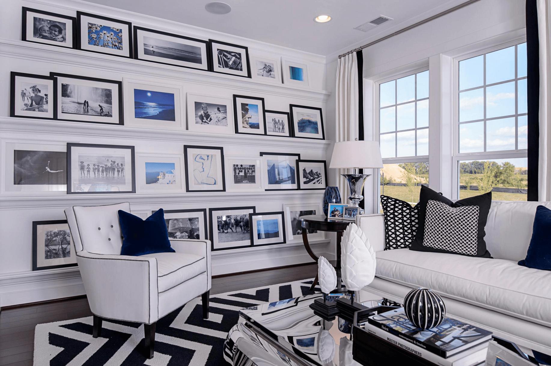 black and white family room – room design ideas