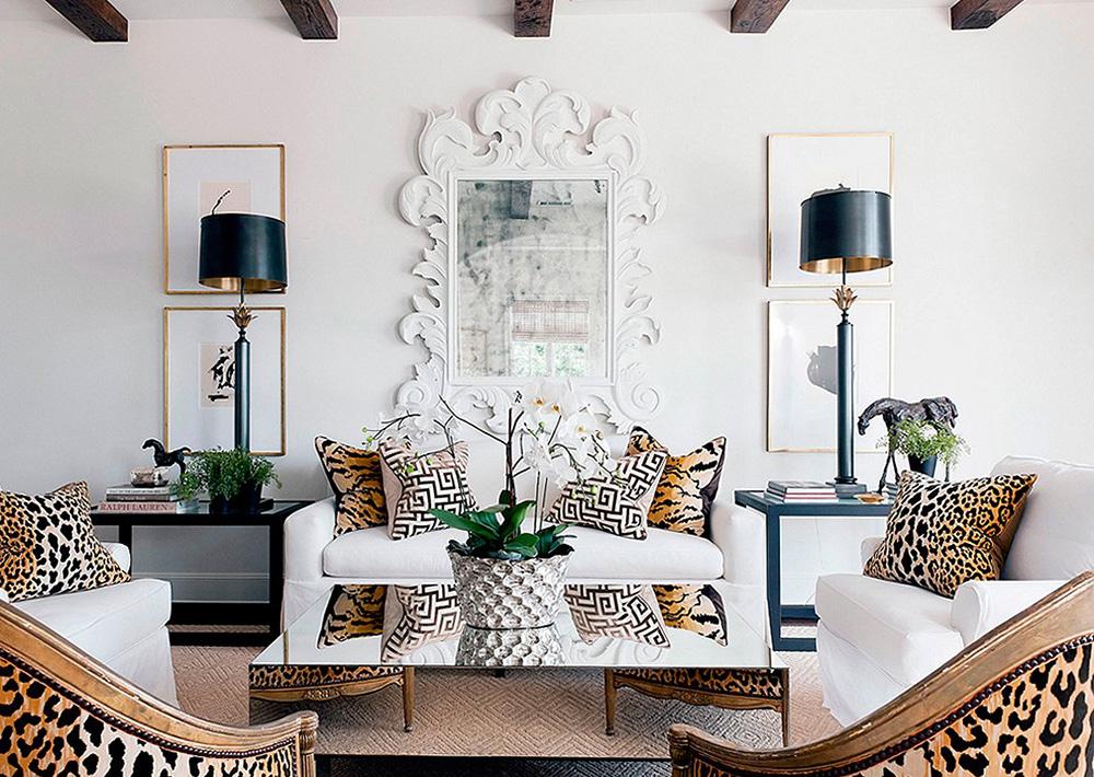 animal prints home decor maximalist white wall lamp shades cushions on sofa