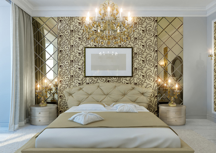 gold home decor maximalist style bedroom king sized bed with candle lights