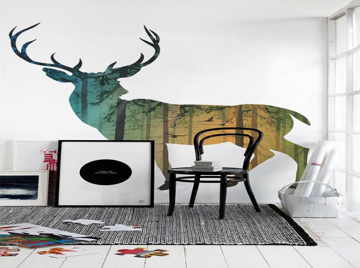 decoration-ideas-interior-makeover-cozy-home-interior-decoration-with-wall-murals-for-living-room-design-ideas-with-colorful-deer-wall-painting-along-with-black-metal-side-c