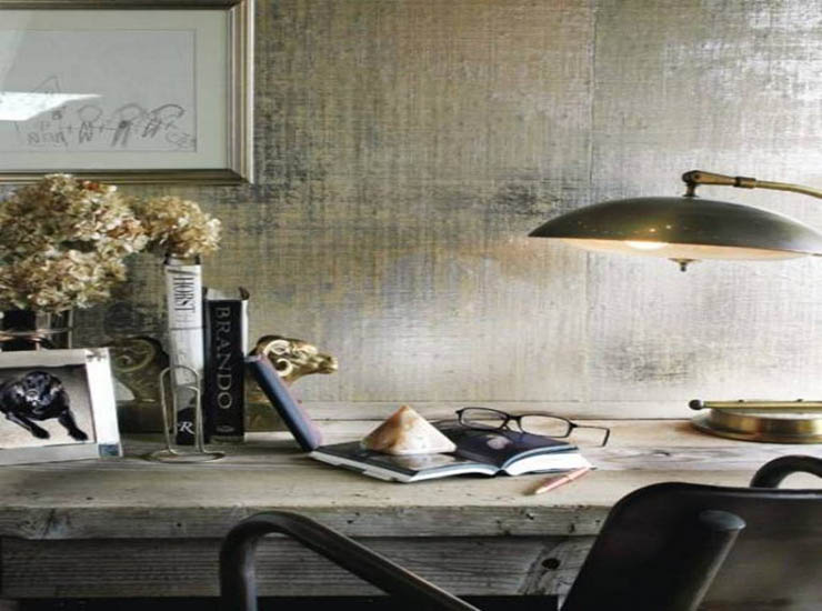 reading-room-with-silver-metallic-paint-wall-and-wall-art-and-wooden-desk-768x922