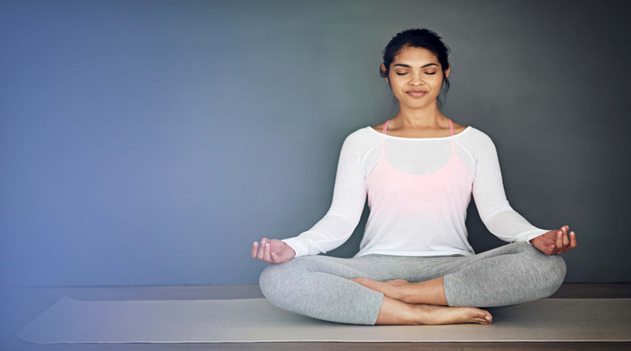 Young Lady in Yoga Position