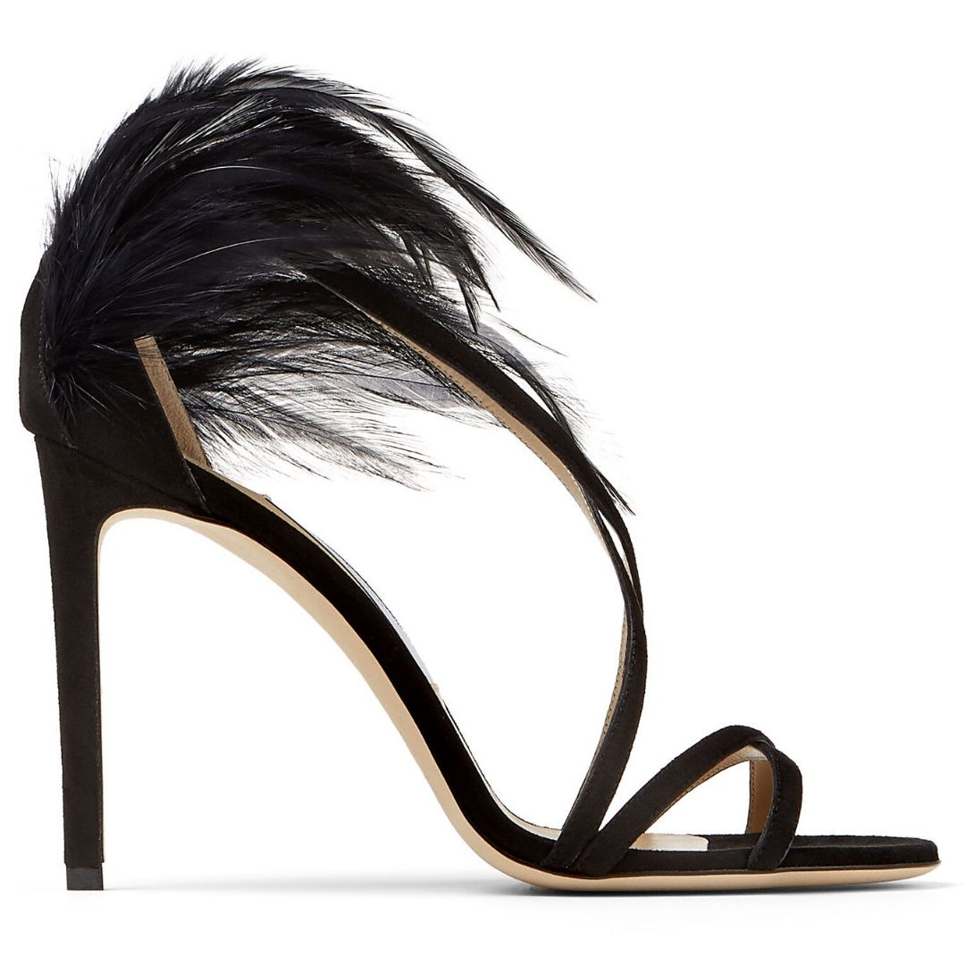 Black Suede Stiletto Sandals with Feather Trim