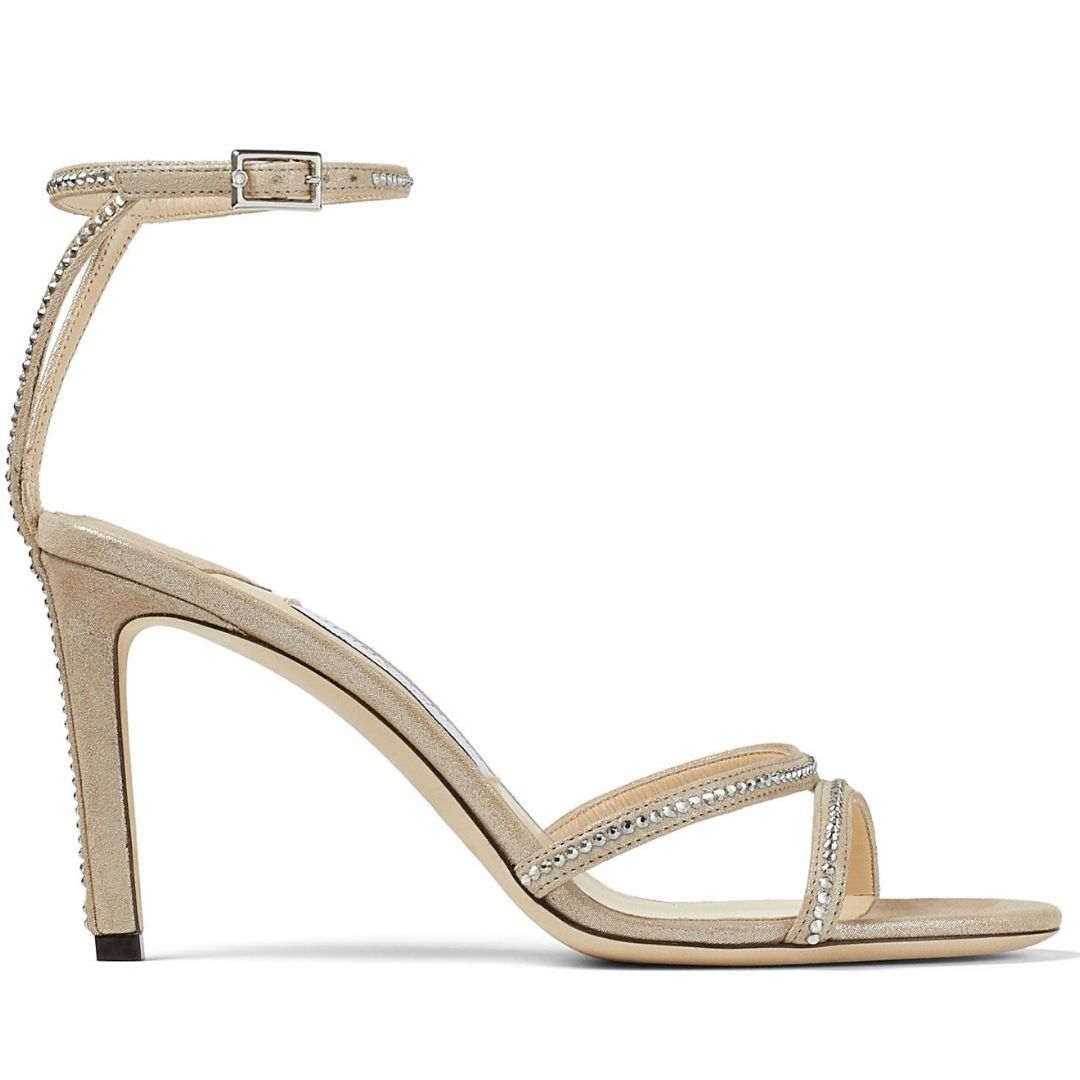 Nude Suede Sandals with Crystal Trim