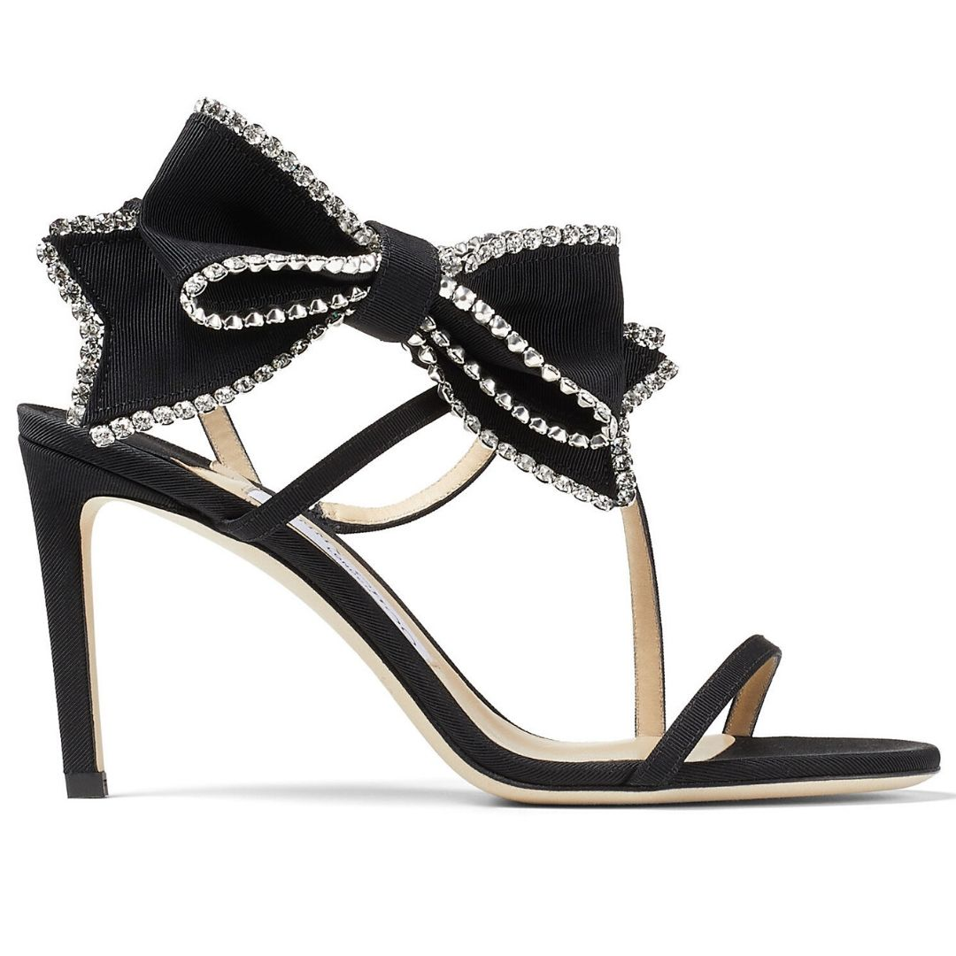 Black Grosgrain Stiletto Sandals with Crystal-Embellished Bow