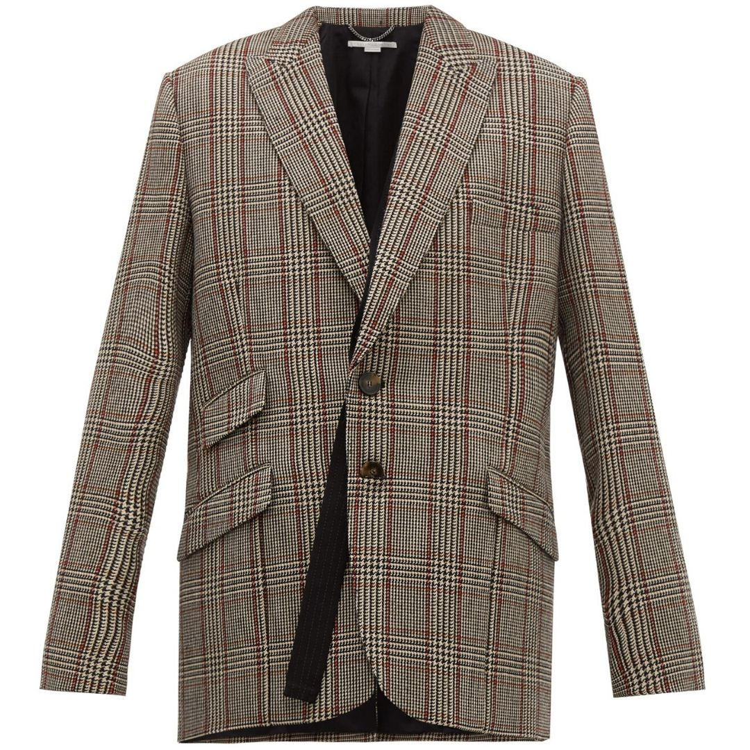 Double-breasted Prince of Wales-check wool blazer