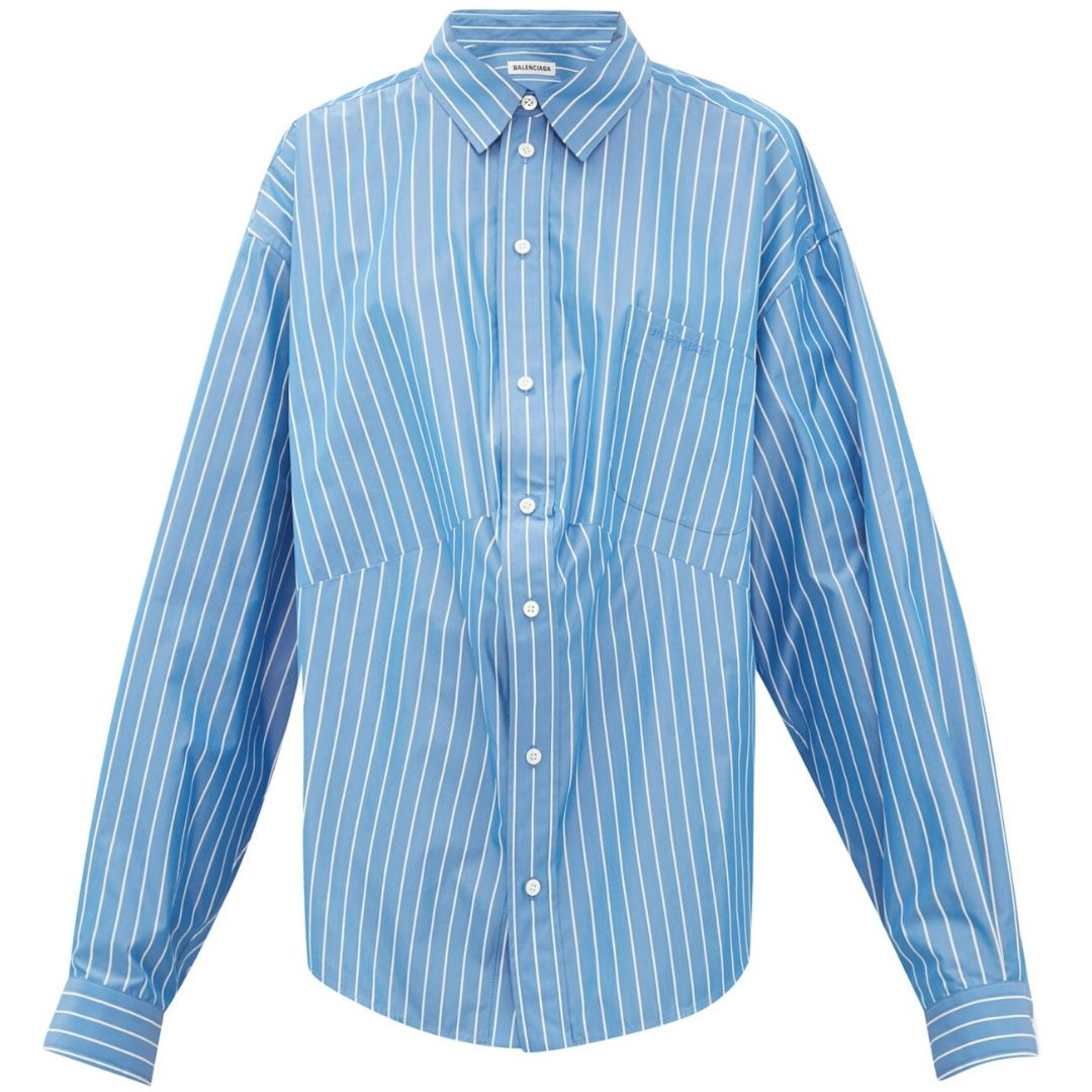 Oversized striped cotton-blend shirt