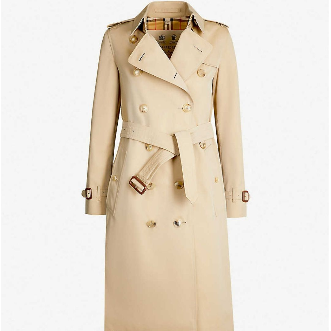 he Kensington Heritage check-lined cotton-gabardine trench coat