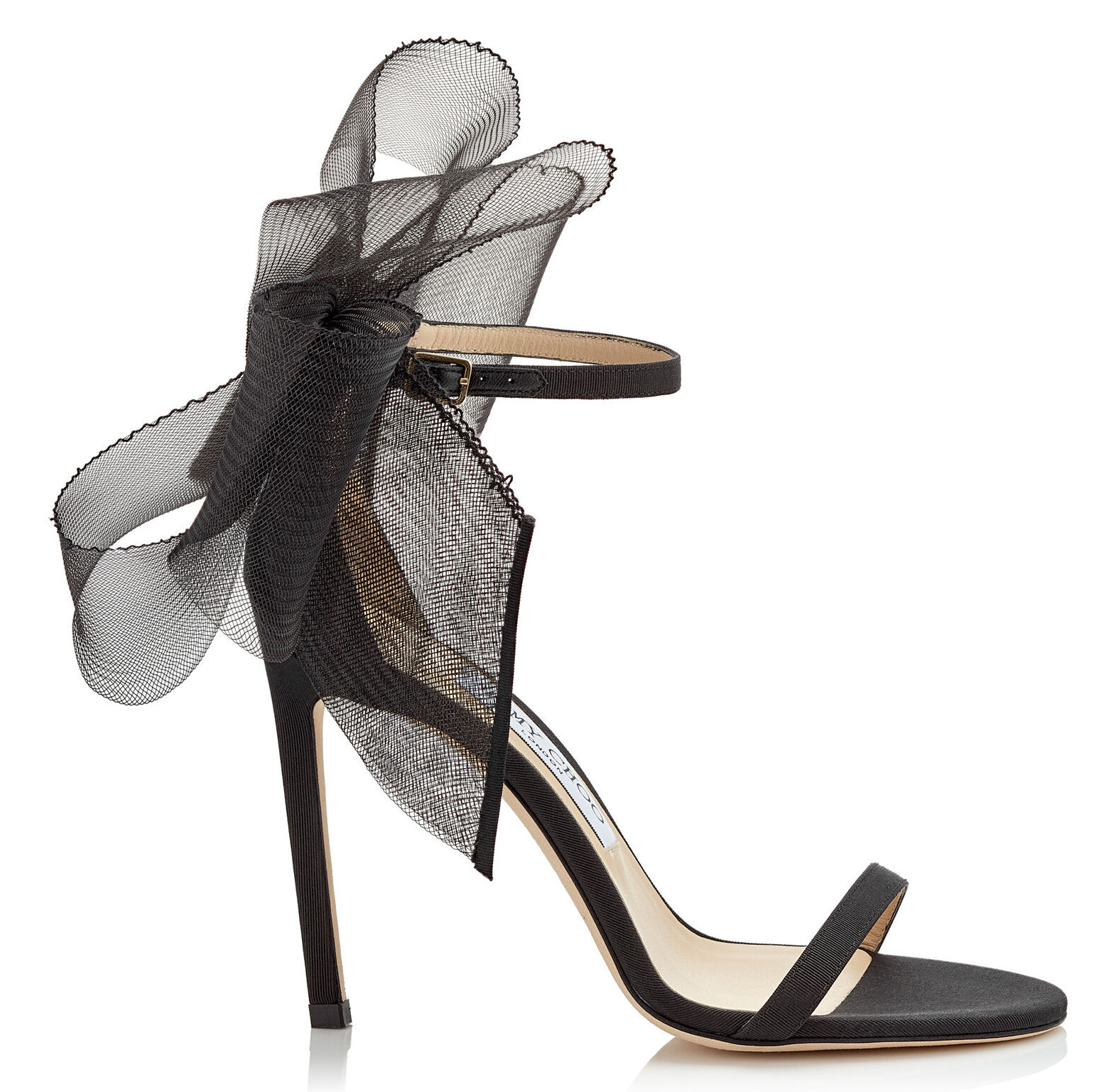 AVELINE 100 Black Sandal with Asymmetric Grosgrain Mesh Fascinator Bows
