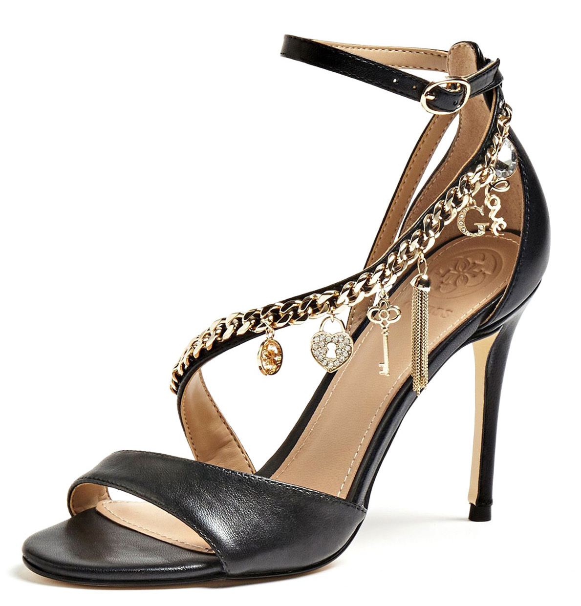 GUESS BLACK KAYAK ANKLE STRAP HEEL SANDALS