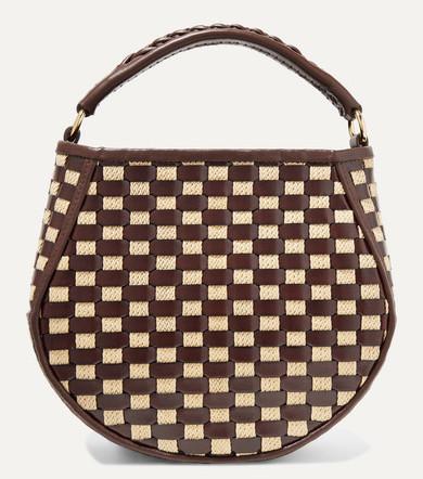 Corsa mini woven leather and raffia tote