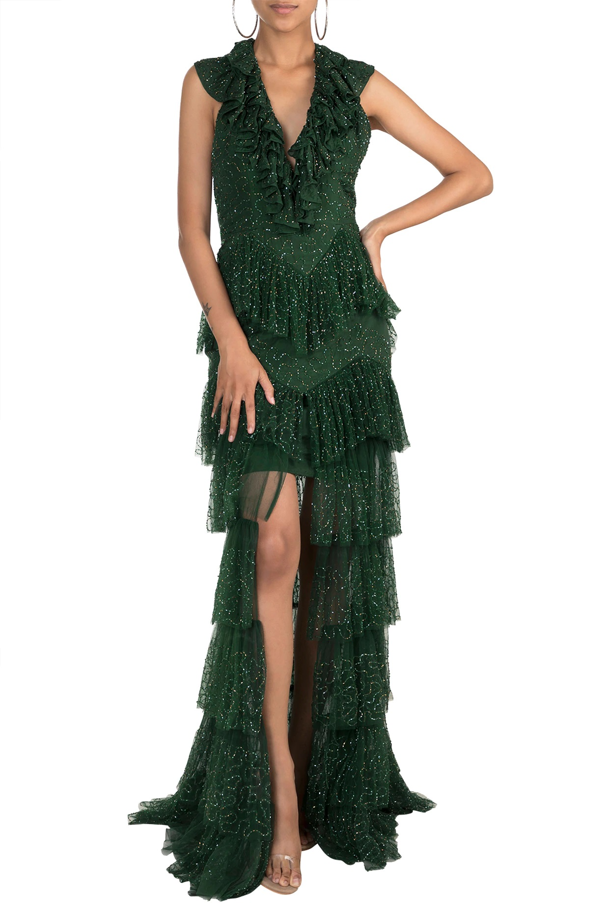 Green Embellished Ruffled Gown