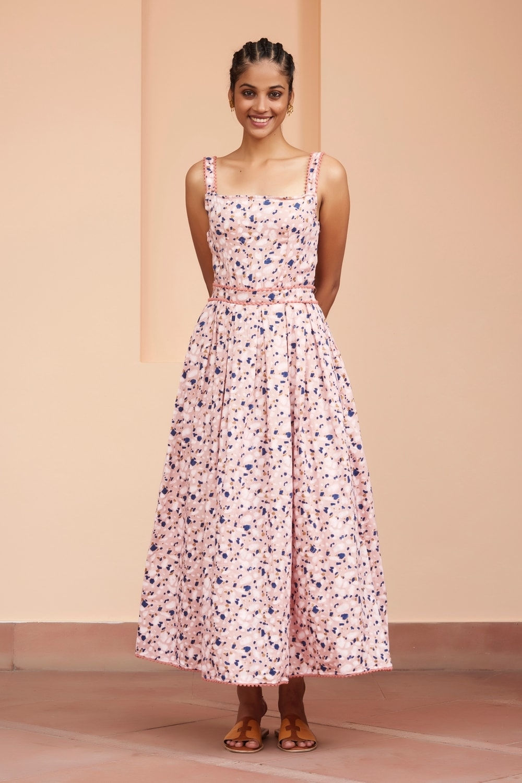 A-line dress slightly gathered on the waist Empire waistline Ankle length dress