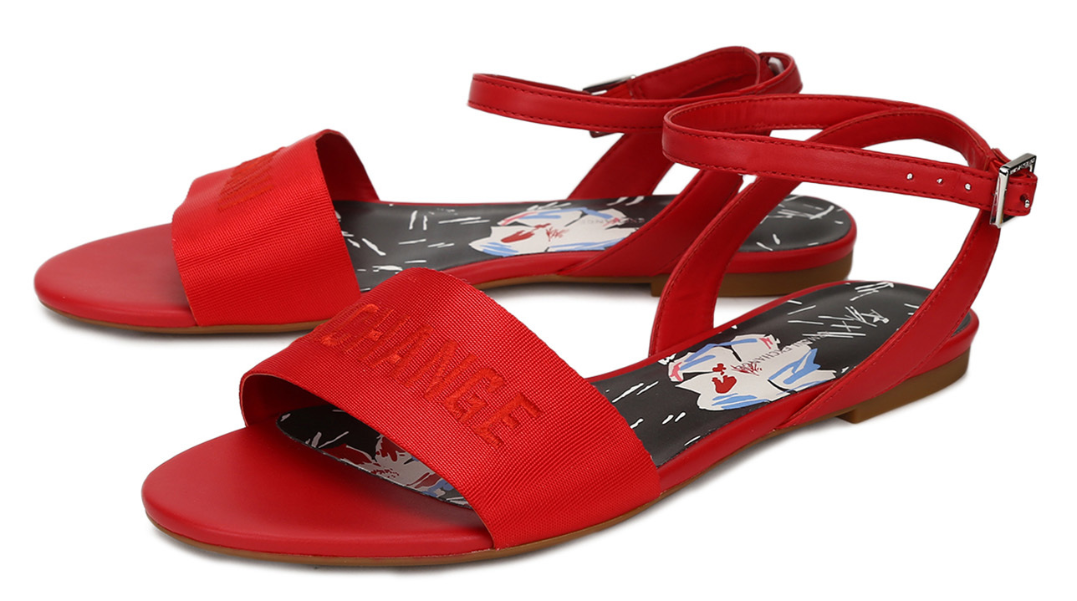 Moulin Rouge Red Logo Flat Sandals